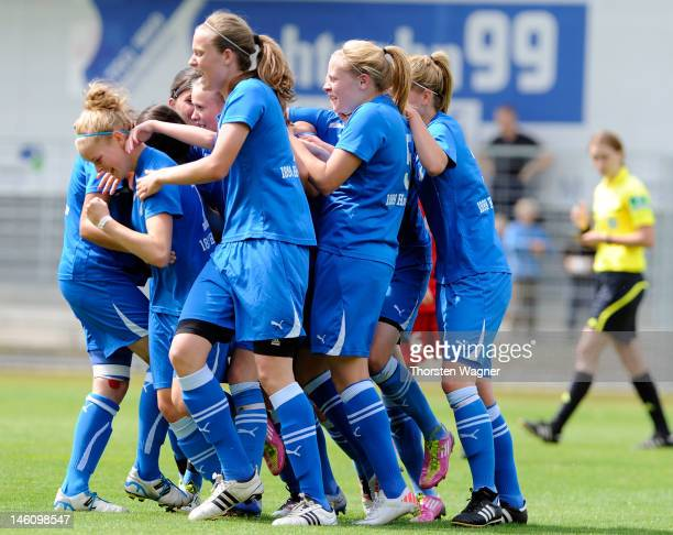 Players of Hoffenheim celebrates after Janina Meissner is scoring her teams first goal during women's bjuniors bundesliga final match between TSG...