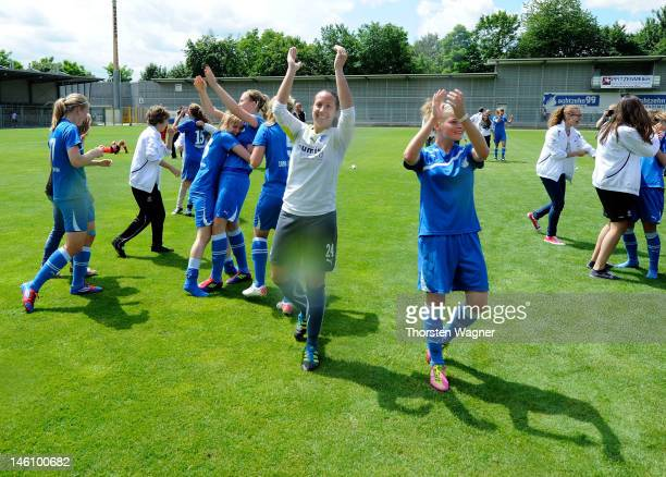 Players of Hoffenheim celebrates after winning the women's bjuniors bundesliga final match between TSG 1899 Hoffenheim and Turbine Potsdam at Dietmar...