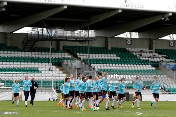 players of Holland Women during the Training Holland Women at the Tallaght Stadium on April 9 2018 in Dublin Ireland
