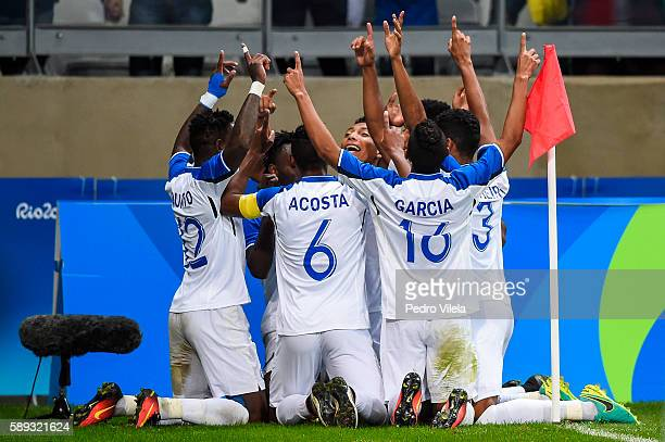Players of Honduras celebrates a scored goal against Republic of Korea during a match between Republic of Korea and Honduras as part of Men`s...