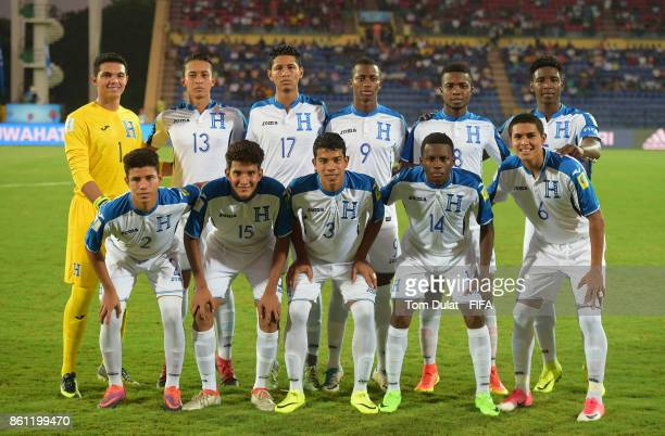 Players of Honduras pose fot the team photograph prior to the FIFA U17 World Cup India 2017 group E match between France and Honduras at Indira...
