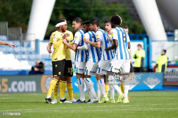 Players of Huddersfield Town line up for a corner during the Sky Bet Championship match between Huddersfield Town and Millwall at John Smith's...