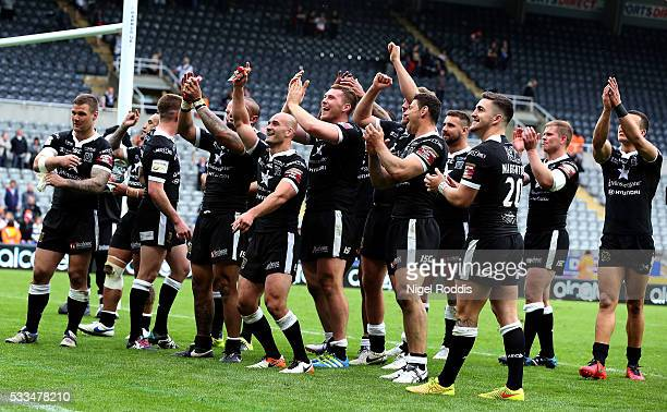 Players of Hull FC celebrate after victory in the First Utility Super League match between Hull FC and Hull KR at St James' Park on May 22 2016 in...