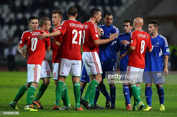 Players of Hungary and Andorra argue during the FIFA 2014 World Cup group D qualifying football match Hungary vs Andorra in Budapest Hungary on...