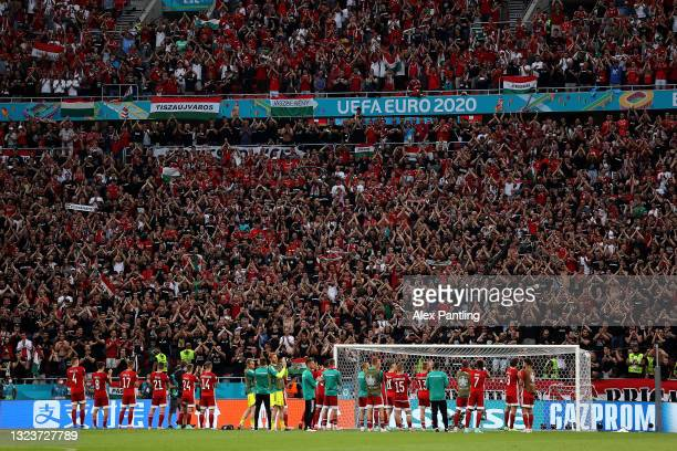 Players of Hungary applaud the fans following defeat in the UEFA Euro 2020 Championship Group F match between Hungary and Portugal at Puskas Arena on...
