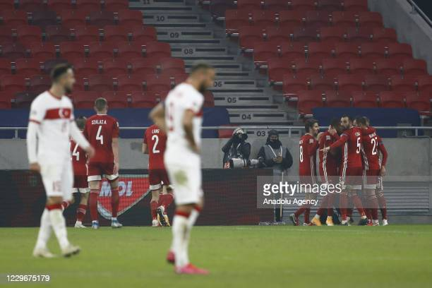 Players of Hungary celebrate after a goal during the UEFA Nations League match between Hungary and Turkey at Puskas Arena in Budapest, Hungary on...
