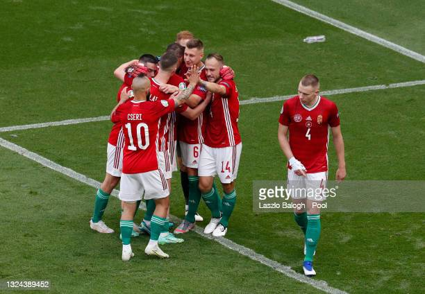 Players of Hungary celebrate after the UEFA Euro 2020 Championship Group F match between Hungary and France at Puskas Arena on June 19, 2021 in...
