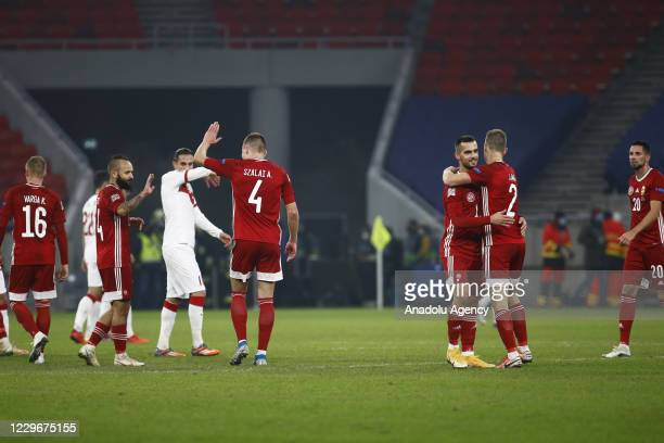 Players of Hungary celebrate after winning the UEFA Nations League match between Hungary and Turkey at Puskas Arena in Budapest, Hungary on November...