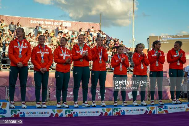 Players of Hungary celebrate in podium after winning the Bronze medal during day 7 of Buenos Aires 2018 Youth Olympic Games at Green Park on October...