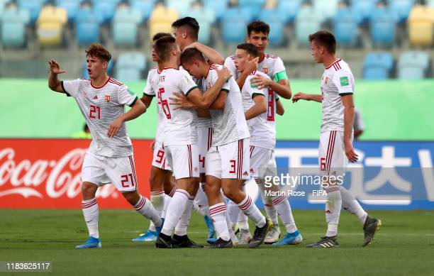 Players of Hungary celebrate their 2nd goal during the FIFA U17 World Cup Brazil 2019 Group B match between Nigeria and Hungary at Estadio Olimpico...