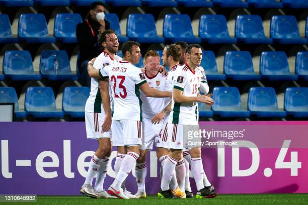 Players of Hungary celebrate their team's second goal during the FIFA World Cup 2022 Qatar qualifying Group I match between Andorra and Hungary on...