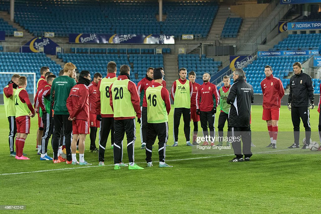 Norway & Hungary Training and Press Conference : News Photo