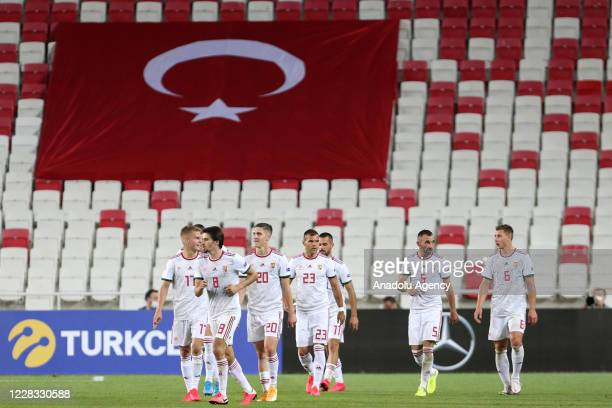 Players of Hungary national football team celebrate after Dominik Szoboszlai's goal during the UEFA Nations League B - Group 3 first match between...