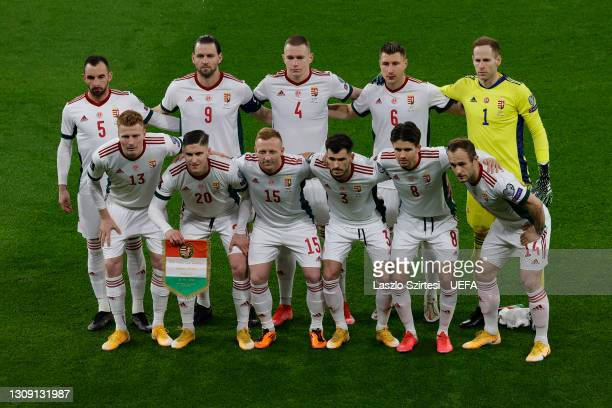 Players of Hungary pose for a team photograph prior to the FIFA World Cup 2022 Qatar qualifying match between Hungary and Poland on March 25, 2021 in...