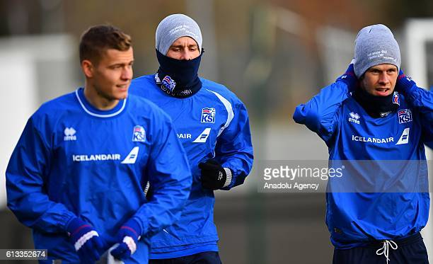 Players of Iceland attend a training session ahead of UEFA 2018 World Cup Qualifying Group I match between Iceland and Turkey at Laugardalsvöllur...