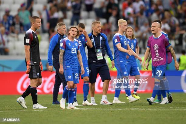Players of Iceland lok dejected following the 2018 FIFA World Cup Russia group D match between Nigeria and Iceland at Volgograd Arena on June 22 2018...