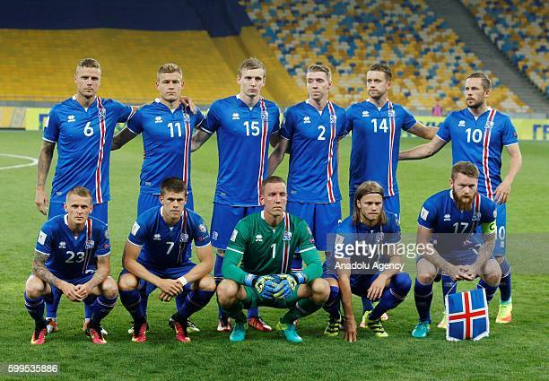 Players of Iceland national team pose prior to the 2018 FIFA World Cup Qualifying match between Ukraine and Iceland at the Olimpiyskyi Stadium in...