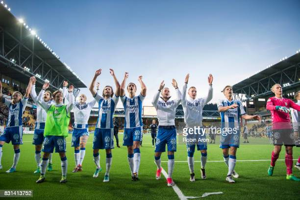 Players of IFK Goteborg celebrates after the victory during the Allsvenskan match between IF Elfsborg and IFK Goteborg at Boras Arena on August 14...