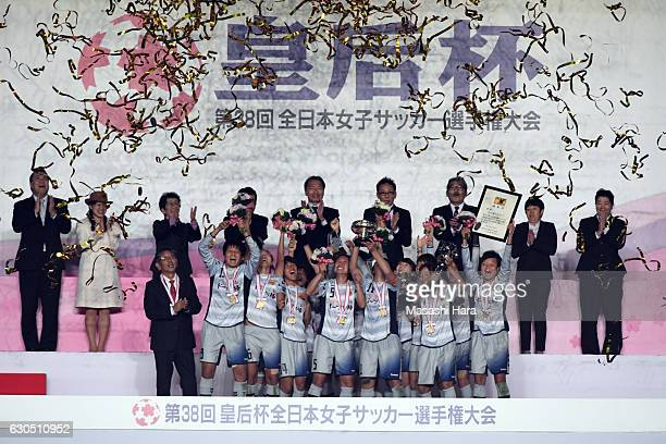 Players of INAC Kobe Leonessa celebrate the victory after the 38th Empress's Cup Final between Albirex Niigata Ladies and INAC Kobe Leonessa at...