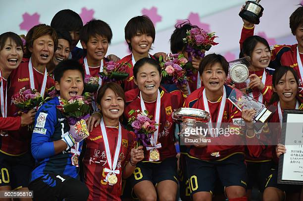Players of INAC Kobe Leonessa celebrate with the trophy during the 37th Empress's Cup All Japan Women's Championship final match between INAC Kobe...