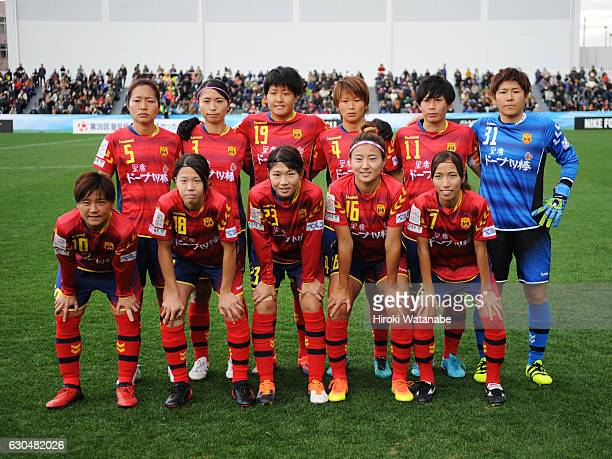 Players of INAC Kobe Leonessa pose for photograph prior to the 38th Empress's Cup Semi Final between Vegalta Sendai Ladies and INAC Kobe Leonessa at...