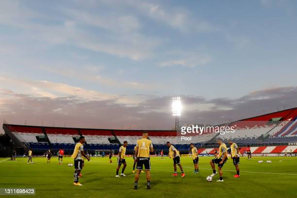 Players of Independiente del Valle warm up prior a third round first leg match between Independiente del Valle and Gremio as part of Copa CONMBEOL...