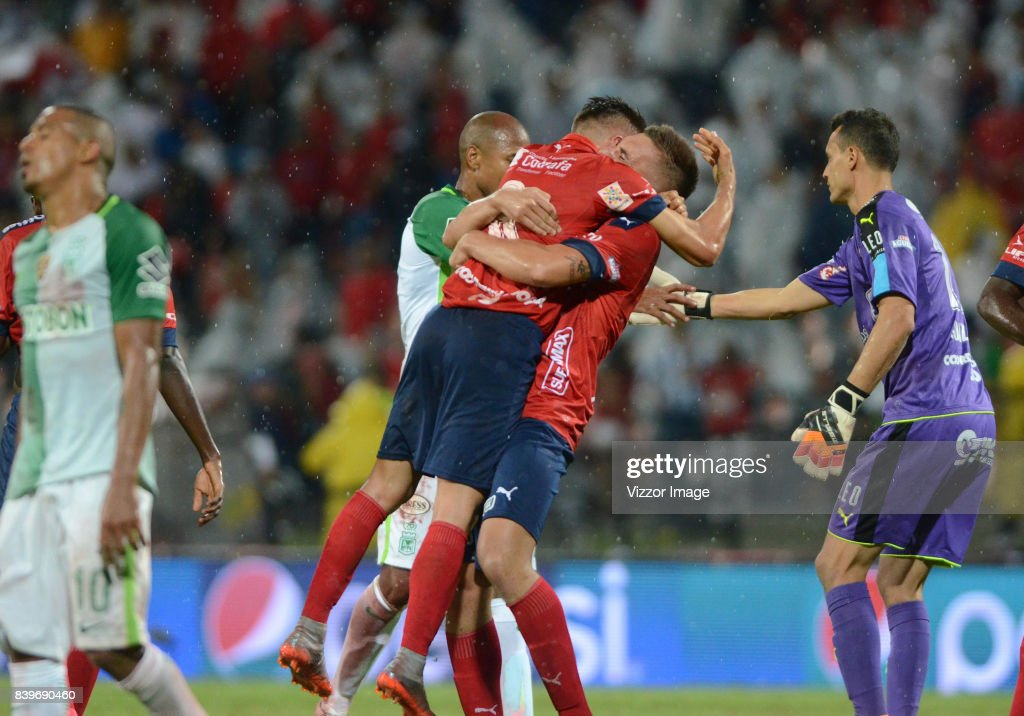 Players of Independiente Medellin celebrate after a match between Independiente Medellin and Atletico Nacional as part of Liga Aguila II 2017 at Atanasio Girardot stadium on August 26, 2017 in Medellin, Colombia.