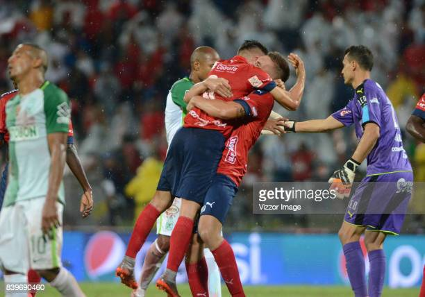 Players of Independiente Medellin celebrate after a match between Independiente Medellin and Atletico Nacional as part of Liga Aguila II 2017 at...