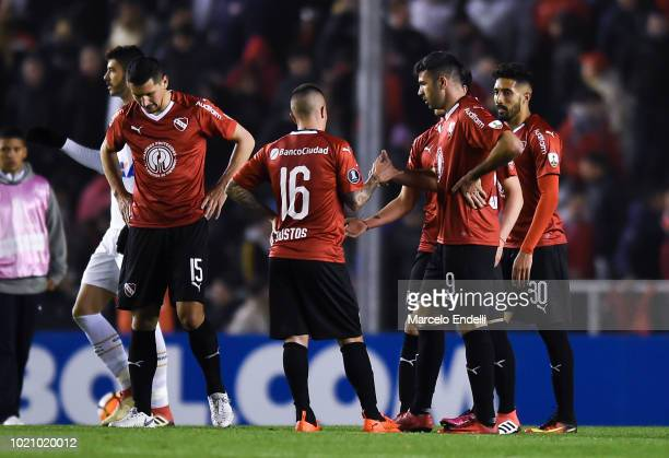 Players of Independientes react after a round of sixteen match between Independiente and Santos as part of Copa CONMEBOL Libertadores 2018 at...