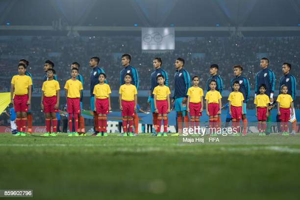 Players of India line up prior the FIFA U17 World Cup India 2017 group A match between India and Colombia at Jawaharlal Nehru Stadium on October 9...