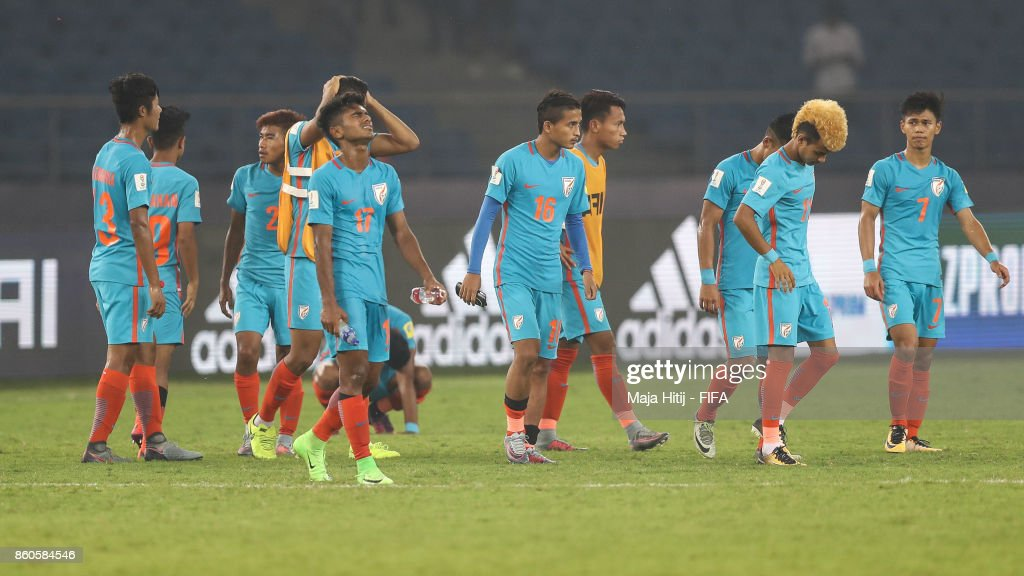 Players of India react after the FIFA U-17 World Cup India 2017 group A match between Ghana and India at Jawaharlal Nehru Stadium on October 12, 2017 in New Delhi, India.