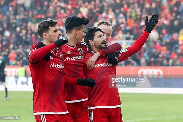 Players of Ingolstadt celebrate a goal during the Bundesliga match between FC Ingolstadt 04 and Hamburger SV at Audi Sportpark on January 28 2017 in...