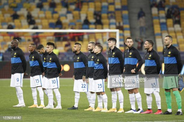 Players of Inter line up for the UEFA Champions League Group B football match between Shakhtar Donetsk and Inter Milan at the Olimpiyskiy Stadium in...