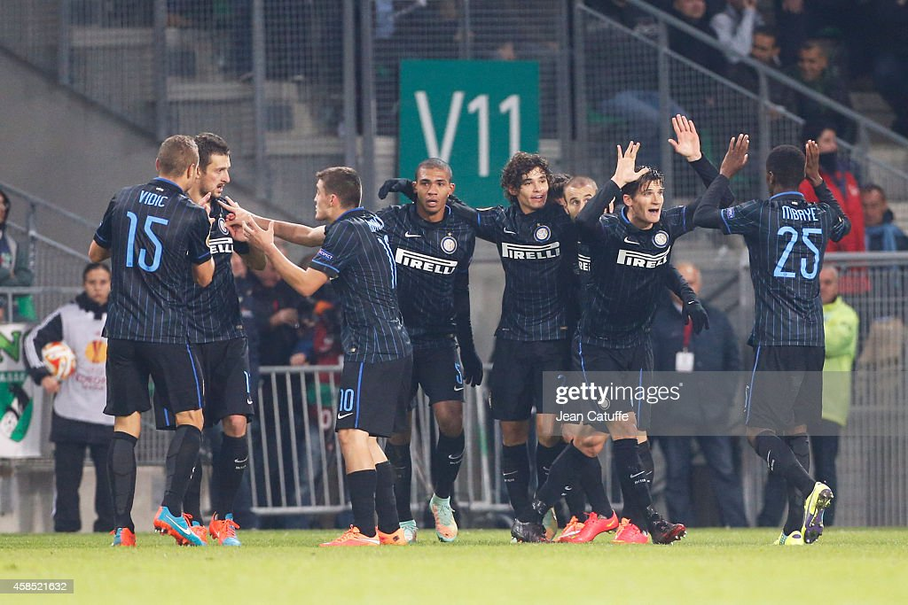 Players of Inter Milan celebrate their goal scored by Dodo during the UEFA Europa League Group F match between AS Saint-Etienne and FC Internazionale Milano on November 6, 2014 in Saint-Etienne, France.