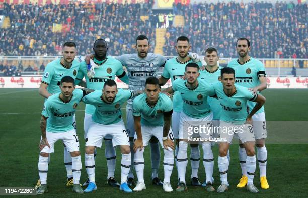 Players of Inter pose for photo prior the Serie A match between US Lecce and FC Internazionale at Stadio Via del Mare on January 19, 2020 in Lecce,...