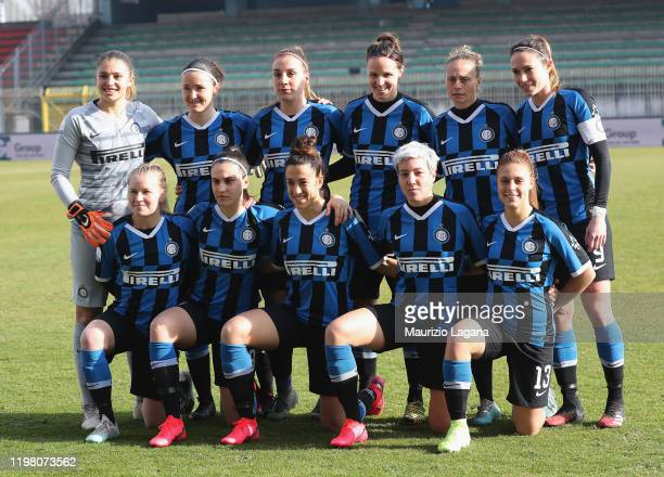 Players of Inter pose for photo prior the Women Serie A match between AC Milan and FC Internazionale at Campo Sportivo F. Chinetti on February 2,...