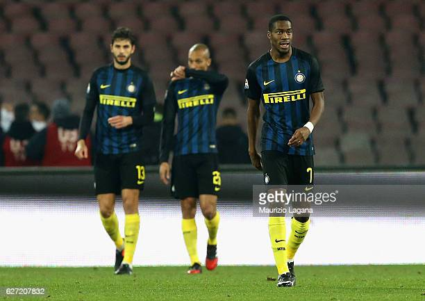 Players of Inter show their dejection during the Serie A match between SSC Napoli and FC Internazionale at Stadio San Paolo on December 2 2016 in...