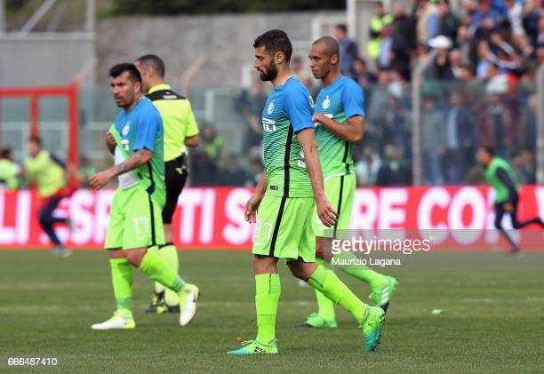 Players of Inter shows their dejection after the Serie A match between FC Crotone and FC Internazionale at Stadio Comunale Ezio Scida on April 9 2017...