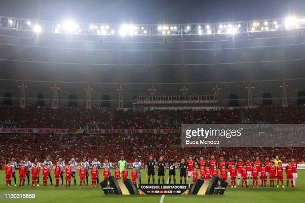 Players of Internacional and Alianza Lima line up before a match between Internacional and Alianza Lima, as part of Copa CONMEBOL Libertadores 2019...