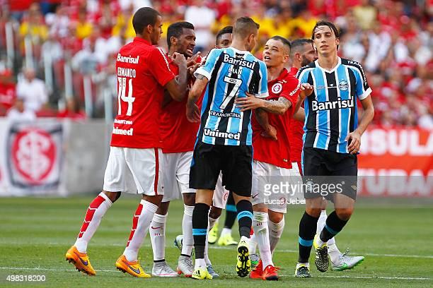 Players of Internacional and Gremio argue during the match between Internacional and Gremio as part of Brasileirao Series A 2015, at Estadio...