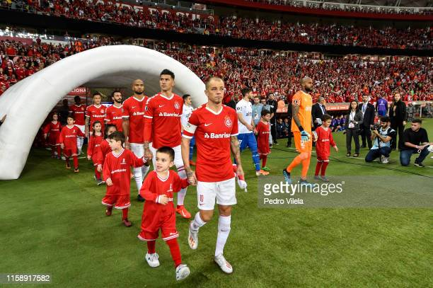 Players of Internacional enter the pitch before the match between Internacional and Nacional URU as part of Copa CONMEBOL Libertadores 2019 at...