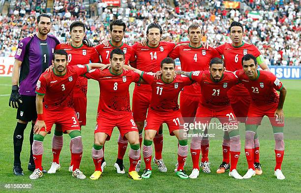 Players of IR Iran pose for an official picture before the 2015 Asian Cup match between Qatar and IR Iran at ANZ Stadium on January 15 2015 in Sydney...