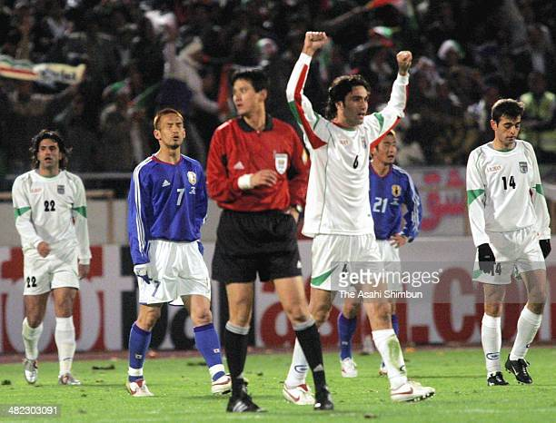 Players of Iran celebrate the win after the FIFA World Cup Germany Asian Qualifier Final Round match between Iran and Japan on March 25 2005 in...