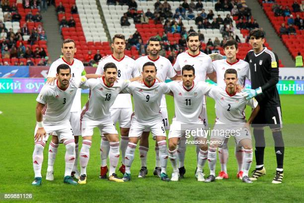Players of Iran pose for a photo ahead of the International friendly soccer match between Russia and Iran at Kazan Arena in Kazan Russia on October...