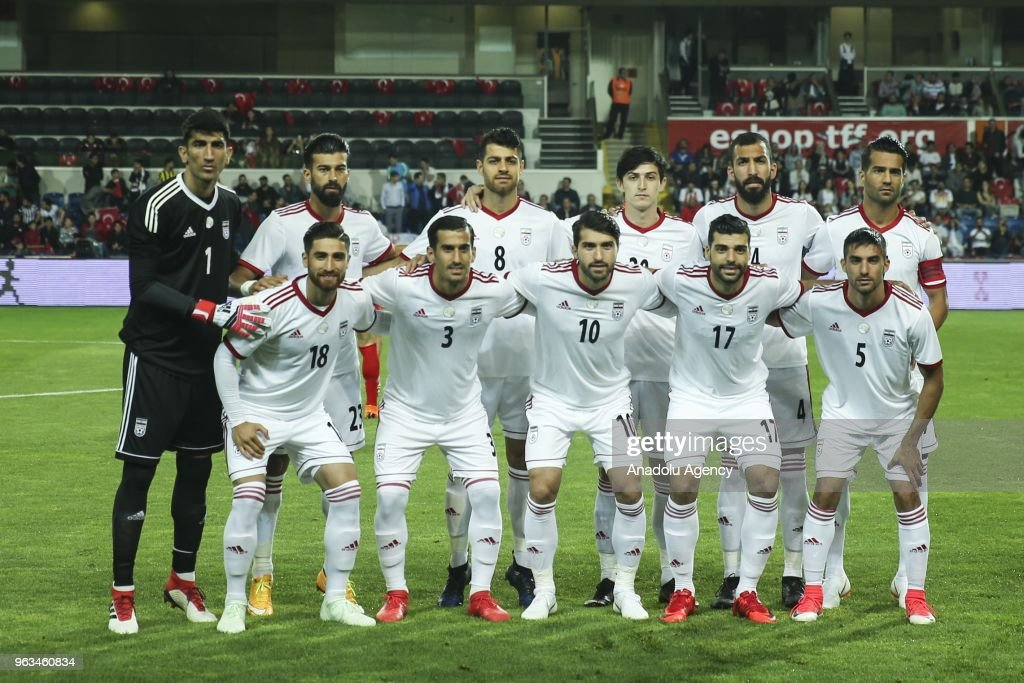 Players of Iran pose for a team photo ahead of the international friendly soccer match between Turkey and Iran at the Basaksehir Fatih Terim Stadium in Istanbul, Turkey on May 28, 2018.