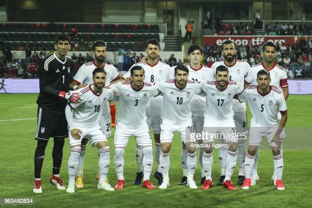 Players of Iran pose for a team photo ahead of the international friendly soccer match between Turkey and Iran at the Basaksehir Fatih Terim Stadium...