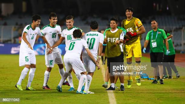 Players of Iraq celebrate a goal during the FIFA U17 World Cup India 2017 group F match between Iraq and Chile at Vivekananda Yuba Bharati Krirangan...
