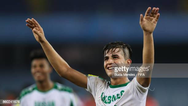 Players of Iraq celebrate the victory after the FIFA U17 World Cup India 2017 group F match between Iraq and Chile at Vivekananda Yuba Bharati...