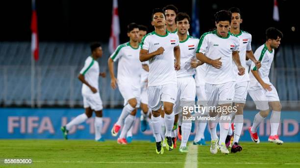 Players of Iraq in action during their training session ahead of the FIFA U17 World Cup India 2017 tournament at the Salt Lake Stadium or Vivekananda...