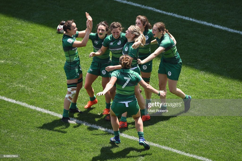Players of Ireland celebrates after defeating Canada in the Trophy Semi-final on day two of the HSBC Women's Rugby Sevens Kitakyushu at Mikuni World Stadium Kitakyushu on April 22, 2018 in Kitakyushu, Fukuoka, Japan.